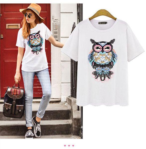 Top Quality New Fashion Women Girls Summer T-Shirts Tops Luxury Designer Owl Sequins Print Tshirt Short Sleeve Tees Plus Size 5XL