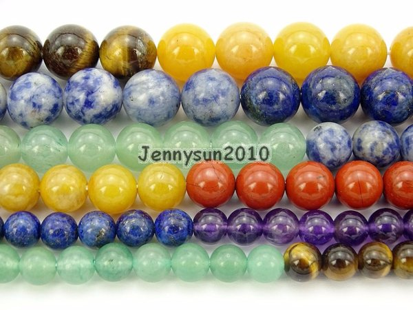 Natural Seven Colors Stones Gems Stone Round Beads 15.5'' Strand 4mm 6mm 8mm 10mm for Jewelry Making Crafts 5 Strands/Pack
