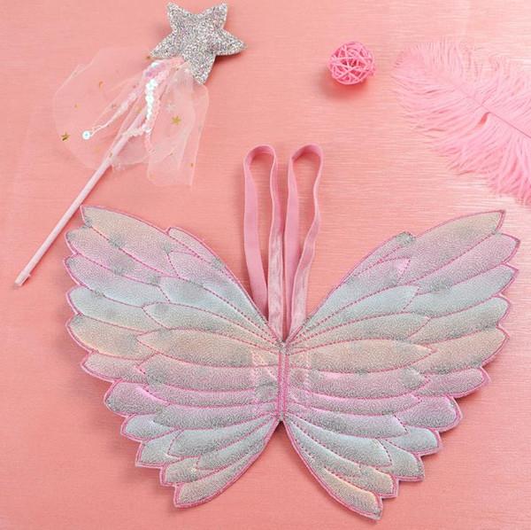 Party Favor Kinder Flügel Stern Zauberstäbe fancy dress cos Fee Steigung Farbe Schmetterlingsflügel Quaste Pailletten glitzern rosa wand