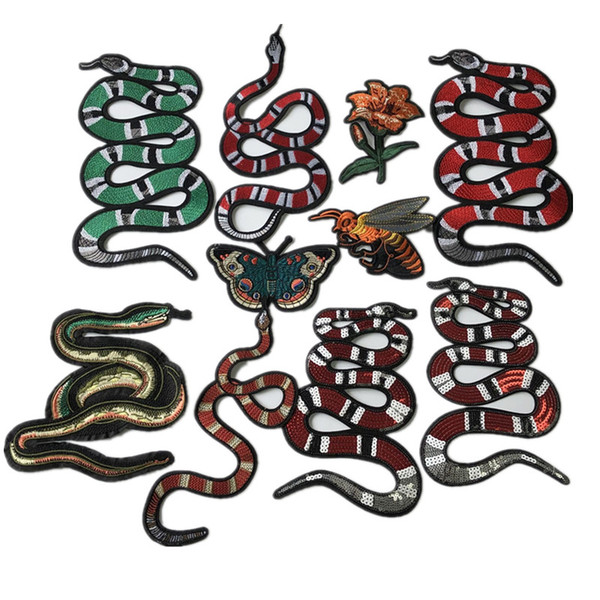 top popular 1 piece of embroidered patch sew-on or iron-on snake appliques size as pictures show decorative accessories for dress diy 2021