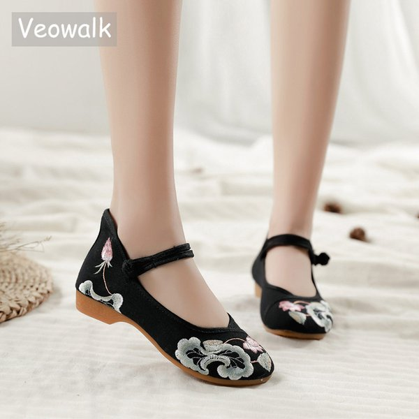 Veowalk Lotus Embroidered Women Canvas Mary Jane Flats Retro Ladies Casual  Comfort Cotton Ballerinas Shoes Woman Costume Shoes 6b970f4b4d46