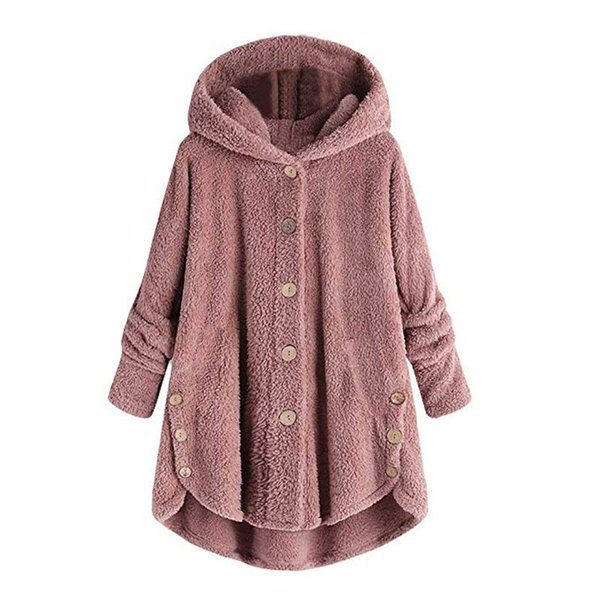Women Plush Faux Fur Coat Warm Buttons Hooded Fur Jackets Female Autumn Winter Casual Outerwear A-line Slim Overcoat Greatcoat