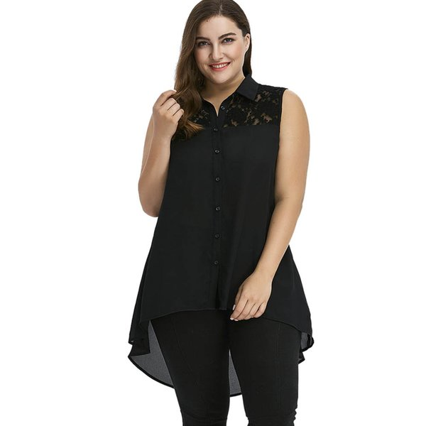 Rosegal Plus Size Lace Insert High Low Top Summer Women Blouse Shirt Collar Sleeveless Long Shirt Blouses Ladies Tops Clothing Y19062501