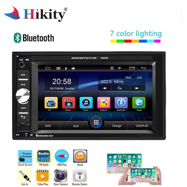 Hikity 2 Radio Din Car 6,2 polegadas Auto de áudio Jogador de toque MP5 Player Autoradio Bluetooth Rear View Camera DVR Espelho Fazer a ligação dvd carro