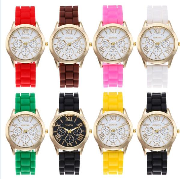 DHL CALIENTE Ginebra reloj femenino de silicona Relojes de color caramelo para mujer con tira de silicona Reloj de cuarzo 15 colores para elegir