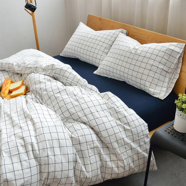 Set di biancheria da letto in cotone lavato morbido 4 pezzi Plaid di controllo geometrico bianco blu rosso Twin completo Queen King Size Set copripiumino Biancheria da letto