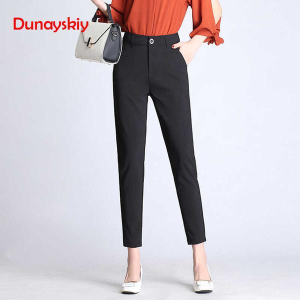 Dunayskiy Women Spring Solid High Waist Long Pants Formal Ol Elegant Harem Pants For Ladies In Workplace Business Suits Trousers MX190717