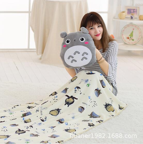 Cartoon totoro Pillow blanket warm hand three-in-one doll cushion plush pillow nap blanket Suitable for all seasons