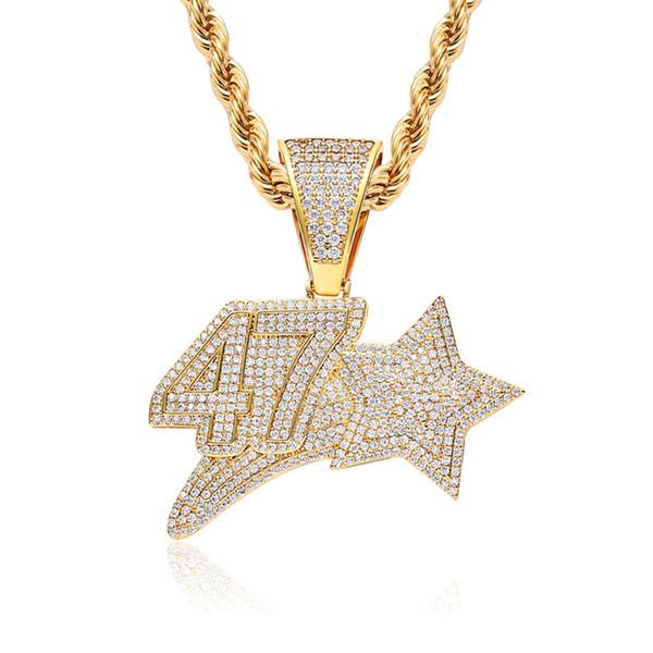 9029ce10fea0 Número 47 Estrella Collar Colgante Hip Hop Joyas Hombres Color Oro circón  cúbico Con Cadena de
