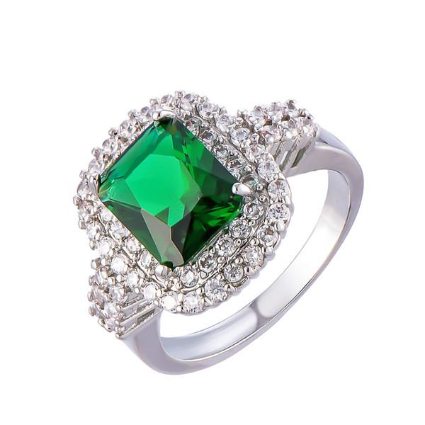2019 Anillos de esmeralda de moda para las mujeres de lujo de la boda de piedras preciosas de plata plateado compromiso anillos anillos regalo de la joyería