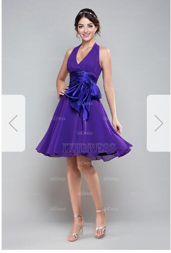 A-Line/Princess V-neck Short/Mini Chiffon Prom Dresser19