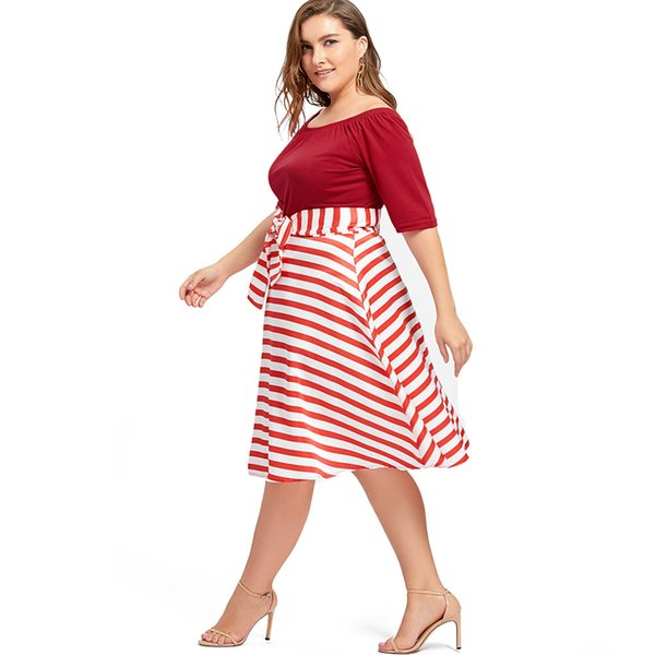 Wipalo Plus Size Christmas Party Stripe Knee Length Dress High Waist  Vintage Ball Gown Dress Happy New Year 5XL Vestidos Teenage Party Dress  Casual ...