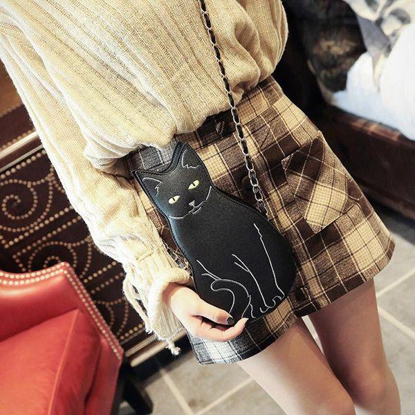 Crossbody Shoulder Bag Cute Cat Shaped Korean Fashion Chain Shoulder Messenger Bags For Women Girls Ladies Chains Handbag Purse