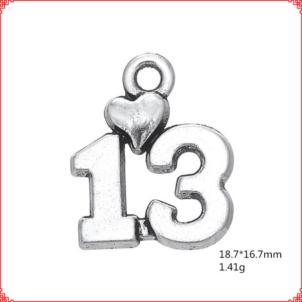 30pcs Antique vintage tibetan silver numeral number 13 charms metal dangle alloy pendants for necklace bracelet earring diy jewelry making