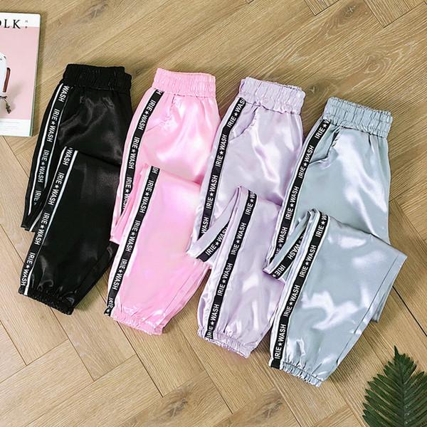 Leggings deportivos Mujeres Pantalones de verano con bolsillo grande Pantalones de satén Moda Joggers brillantes Pantalones sueltos Pantalones para correr para mujer Ropa deportiva