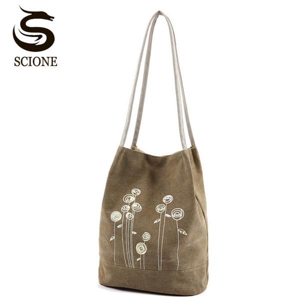 Fashionable Women Canvas Shoulder Bag Cute Flower Printing Handbags Bucket Tote Bag Ladies Shopping Totes Beach Bag JXY575