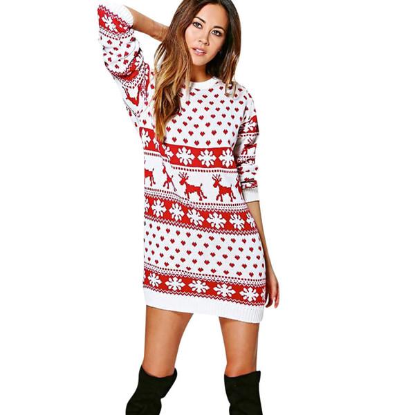 JAYCOSIN clothes Women ladys cute Xmas Christmas Print Long Sleeve Mini Straight Casual Autumn Dress