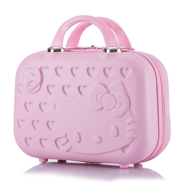 Cartoon Hello Kitty Cosmetic Case Box Hellokitty Makeup Case ABS 14Inch Cute Tourism Fashion Suitcase Luggage Maleta Valise
