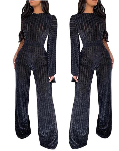 Творческие моды шея длинного рукав Комбинезоны Black Empire Изящный Стиль партия Женщина Rompers Холодный взгляд