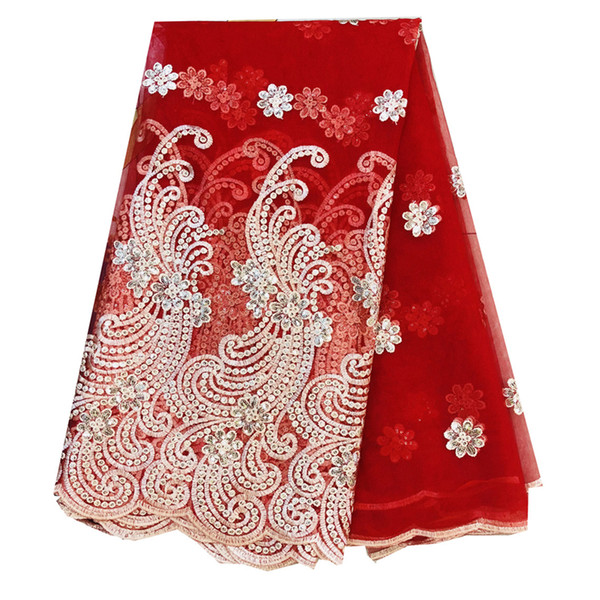 2019 New High Quality Embroidered African Lace Fabric Tulle Lace Fabric With Sequins French Net Lace For Women Dress New white