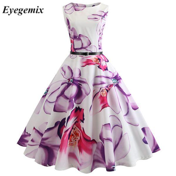 Floral Print Vintage Dress Damen Retro PinUp Tutu Kleider Hepburn 50er Jahre 60er Jahre Rockabilly Robe Feminino Vestidos Swing Dresses
