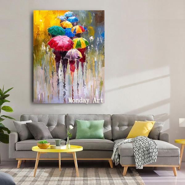 grande quadro dipinto a mano Lover Pioggia Paesaggio Pittura ad olio su tela di canapa di arte della parete Immagini per Living Room Decor migliore T200118 regalo