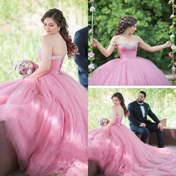 Romantic Blush Pink Ball Gown 2019 Wedding Dresses Off the shoulder Bling Crystal Rhinestones Corset Wedding Reception Dress bridal Gowns