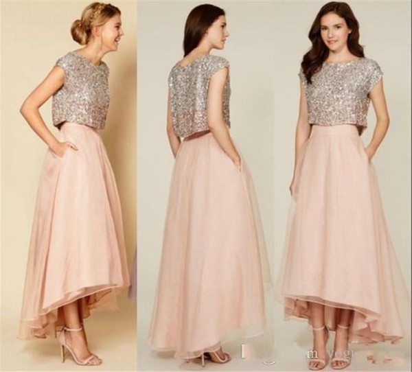 Sparkly Two Pieces Sequins Organza Top Vintage Tea Length Prom Dresses High Low Bridesmaid Dresses with Pockets graduation dress