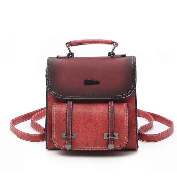Women's Vintage England PU Leather Satchels Backpacks School Shoulder Bags Belt Panelled Nubuck Hasp Backpack For Girls