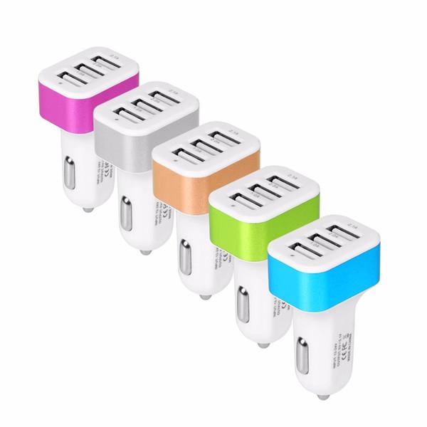 USB Auto Ladegerät 3 Port Telefon Ladegerät Adapter Buchse 2A 2.1A 1A Auto Styling USB Ladegerät Universal für Auto-Styling