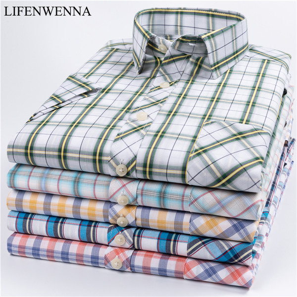 2019 new summer men shirt short sleeved new fashion colored plaid male shirts formal business 100% cotton camisa masculina -5xl, White;black