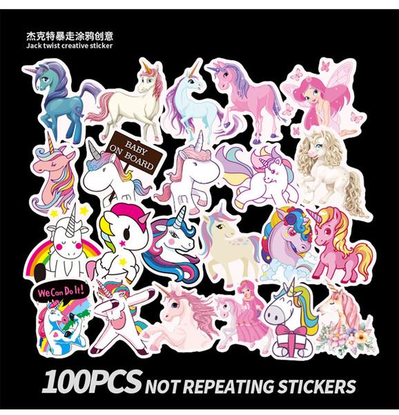 500 pcs / set Jeu Licorne Graffiti Autocollant Personnalité Bagages DIY autocollants de dessin animé PVC Mur stickers sac accessoires enfants cadeau jouets