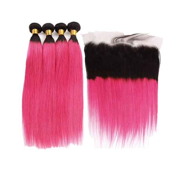 Ombre 1B Розовый Цвет Шелковистые Прямые 4 Пучки С Фронтальной 13x4 Темные Корни 1B Розовые Девственные Человеческие Волосы Расширения Уток с Фронтальной Кружева