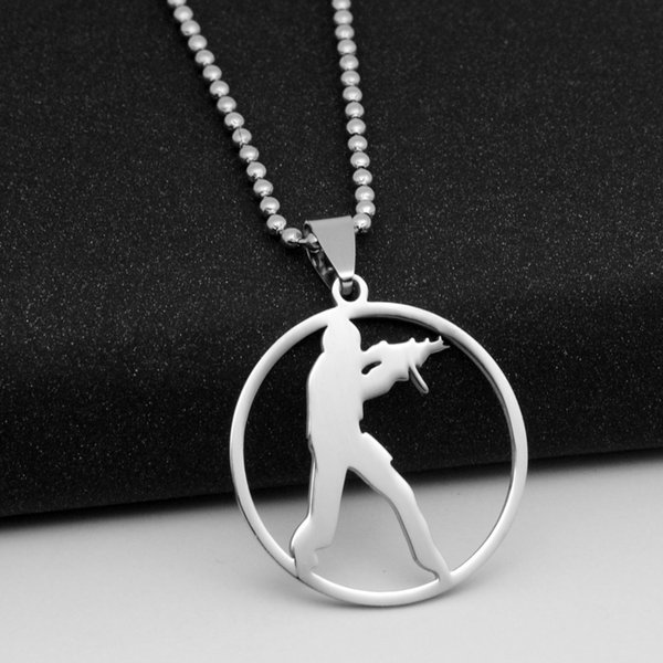 1pcs Stainless Steel Anime Game CS Logo charm Necklace GO Counter-Strike Logo Symbol Necklace Round Global Offensive Pendant Necklace