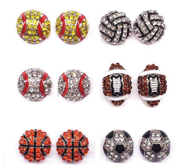 DHL Womens Sports Stud Earrings Basketball Softball Baseball Volleyball American Football Rhinestone Embellished Ear Studs Stud Earrings