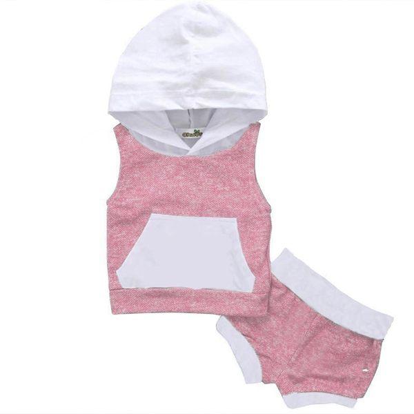 Baby Boys Girls Fashion Dress Set 2 Piece Hoodie Top Short Broek Stripped Green Mouwlless Clothing Set J190718