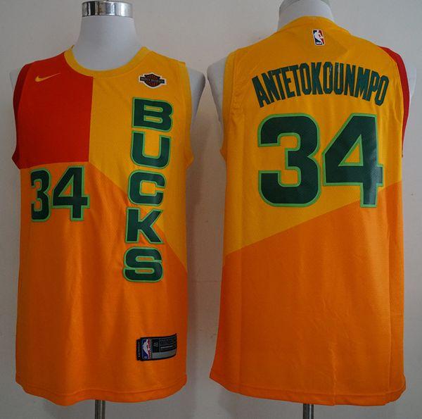 new arrival 589ba da4b1 Men'S Milwaukee Giannis Bucks 34 Antetokounmpo Yellow 2018/19 Swingman  Jersey City Version Shirts For Wedding Wedding Shirts For Groom From ...