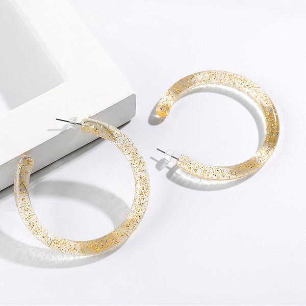 Nouveau géométrique acrylique Hoop Boucles d'oreilles Transparent Motif Jaune Boucles d'oreilles Ouvert Rond Résine Coréen Simple Frais Ornements