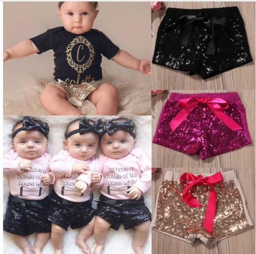 1-8 yıl Bebek Sequins Şort Pantolon Rahat Pantolon Moda Bebek Glitter Bling Dans Butik Yay Prenses Şort Çocuk Giysileri 17 renk