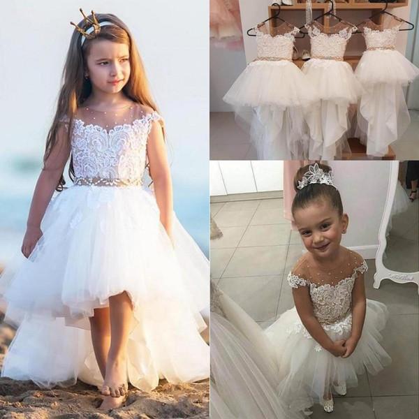 Hot Sale Lovely Hi-Lo Designer Kids Dresses Short Front Long Back Sheer Neckline Cap Sleeve Lace Bodice Beads Kids Formal Wear