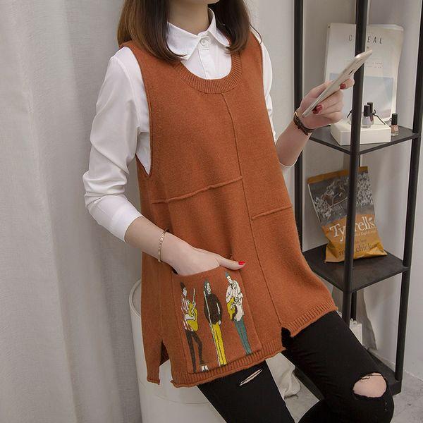 e autunno sciolto versione coreana gilet collo a V collo di lana senza maniche maglia maglione giacca abito primavera