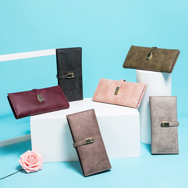 Popular women's slim long wallet soft felt leather hand purse simple two fold billfold China guangdong supplier