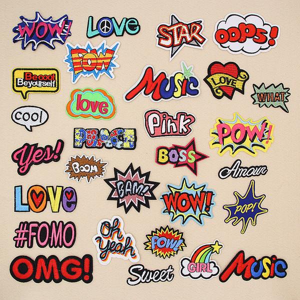 Letra OMG WOW Cool Oops Boom Yeah Love Pow Parches de bordado para la ropa Hierro en el bolso de la ropa Apliques Insignia Rayas Etiqueta
