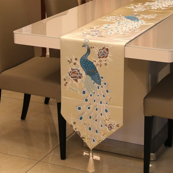 Ou embroidery soft outfit cloth art fashion classic Chinese style restoring ancient ways the peacock flower table runner Bed Runner