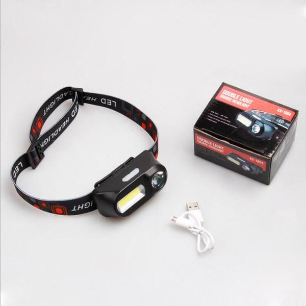 Открытый кемпинг Портативный мини XPE + COB светодиодные фары USB зарядки пешие прогулки рыбалка фары фонарик водонепроницаемый фары