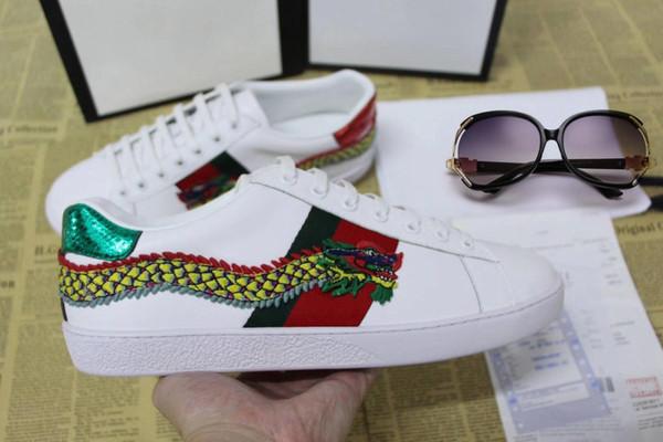 Дизайнерская обувь ACE Luxury вышитая белая тигровая змея обувь из натуральной кожи Д