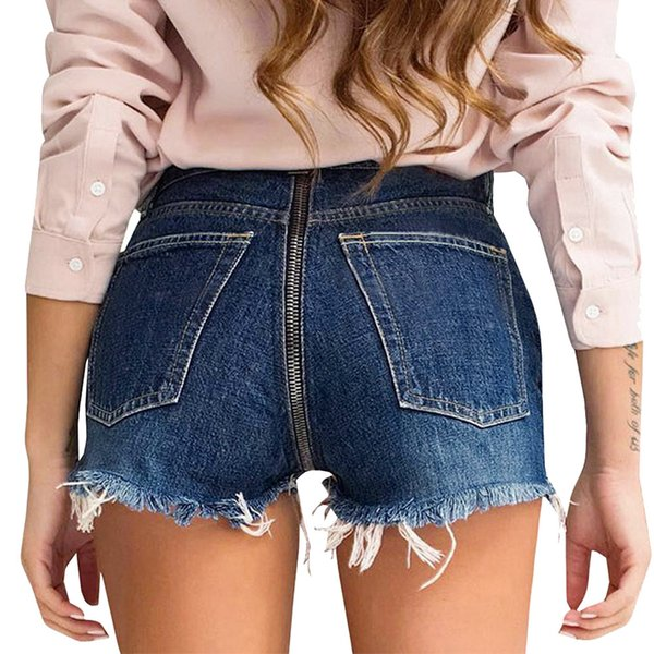 Women's Back Zipper Denim Shorts Pants Tassel Wide-leg Trousers Fashion mini short casual Jeans #0225