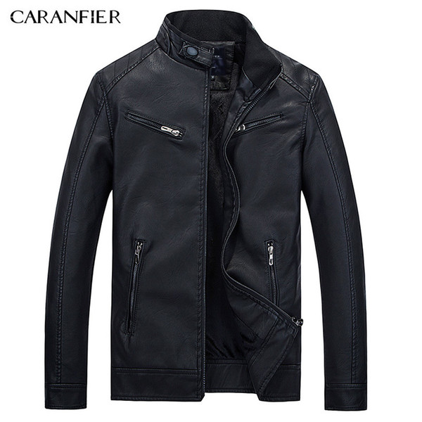 e1eaa80a926a0 CARANFIER Erkek Deri Ceketler Sonbahar Kış Mont Erkekler Artı Kadife Basit  Sahte PU Giyim Biker Motosiklet Erkek Punk Ceket D19010903