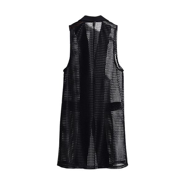 4XL M Sleeveless Woman Black Hollow Out Chemise Femme Korean Ladies Outwear Jackets Coats V Neck Jackets Summer Spring Coats