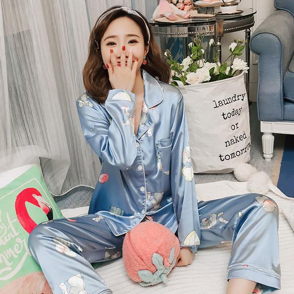 Las mujeres pijamas de seda del hielo impresión pijama de manga larga da vuelta-abajo trajes más del tamaño de bolsillo Top + Pant Ladies Home Ropa 4XL